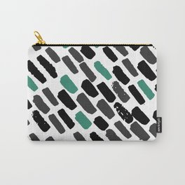Oblique dots black and white green Carry-All Pouch