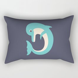 Letter D // Animal Alphabet // Dolphin Monogram Rectangular Pillow