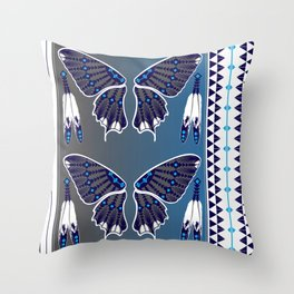 Butterfly Nation Blue Throw Pillow