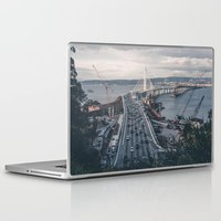 oakland Laptop & iPad Skins featuring Bay Bridge - Oakland, CA by roelvista