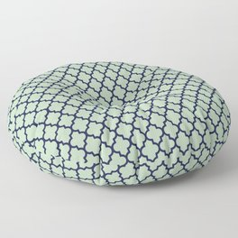 Modern mint green navy blue moroccan quatrefoil Floor Pillow