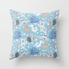 Snowball fight!!! Throw Pillow