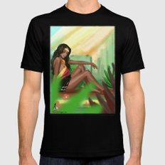 Girl in the field MEDIUM Mens Fitted Tee Black