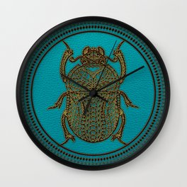 Egyptian Scarab Beetle - Leather & Gold on teal Wall Clock
