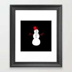 Christmas Snowman-Black Framed Art Print