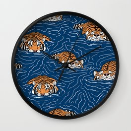 Tigers in the water Wall Clock