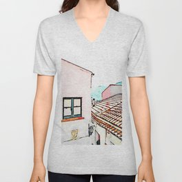 Tortora glimpse with window and roof Unisex V-Neck