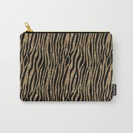 Black & Gold Glitter Animal Print Carry-All Pouch