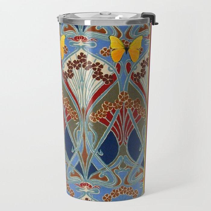 Grey-Burgundy Color & Yellow Art Nouveau Butterfly Design Travel Mug