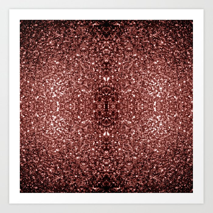 Beautiful Glam Marsala Brown-Red Glitter sparkles Art Print