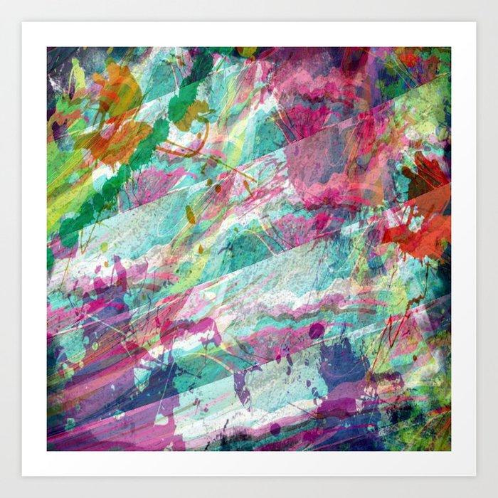 Bright Color Splash Abstract Art Print By Judypalkimas