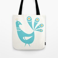 mid century Tote Bags featuring Mid Century Peacock by Amy Newhouse