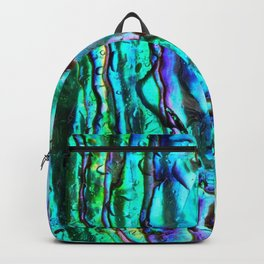 Glowing Aqua Abalone Shell Mother of Pearl Backpack