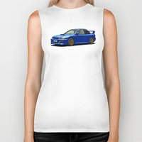 subaru Biker Tanks featuring Subaru Impreza 22B STI Type UK Sonic Blue by Digital Car Art