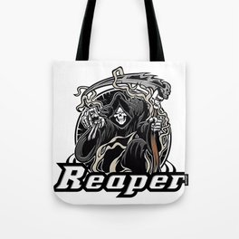 Illustration of grim reaper on white background Tote Bag