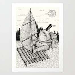 'Crossing the lake' Art Print