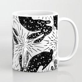 All Eyes on Me - Creepy Bunny - Black and White - Starburst  Coffee Mug