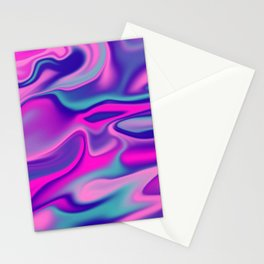 Liquid Bold Vibrant Colorful Abstract Paint in Blue, Pink and Purple Stationery Cards
