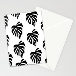 Monstera leaf pattern black and white linocut minimal tropical leaves pattern minimalist Stationery Cards