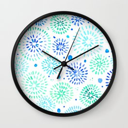 Abstract watercolor sparkles – aqua and blue Wall Clock