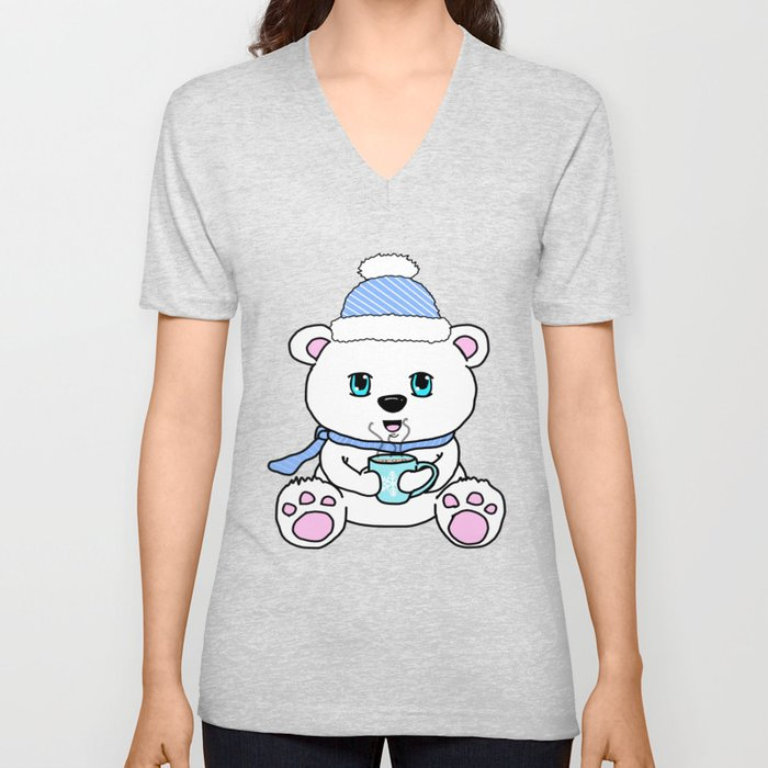 Polar Bear Drinking Hot Chocolate Unisex V-Neck