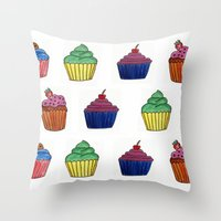 cupcakes Throw Pillows featuring cupcakes by MeriRS