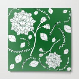 Flying Flowers in green Metal Print