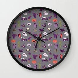 Halloween pattern in grey Wall Clock