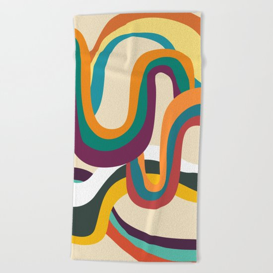 Groovy rainbow of doom Beach Towel
