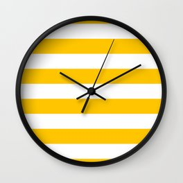Aspen Gold Yellow and White Wide Horizontal Cabana Tent Stripe Wall Clock