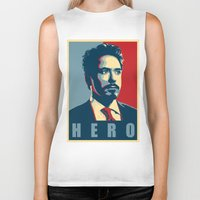 tony stark Biker Tanks featuring Tony Stark by Cadies Graphic