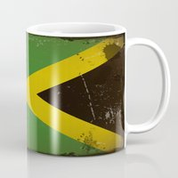 jamaica Mugs featuring Vintage flag of Jamaica by TilenHrovatic