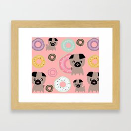 Pug and donuts pink Framed Art Print