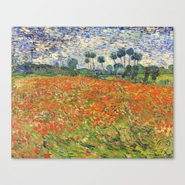 Poppy Field by Vincent van Gogh, 1890 painting Canvas Print