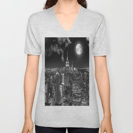 New York Under the Moon Unisex V-Neck