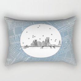 Pittsburgh, Pennsylvania City Skyline Illustration Drawing Rectangular Pillow