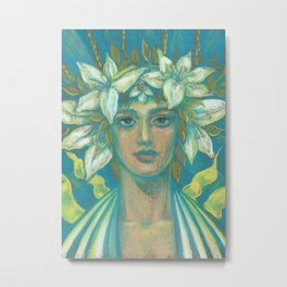 May Queen, Girl in Lily Flower Crown, Surreal Fantasy Portrait Metal Print
