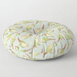 Green cheek conures all-over Floor Pillow