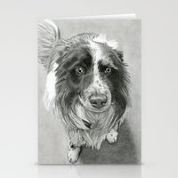 border collie Stationery Cards featuring Border Collie by Sarahphim Art