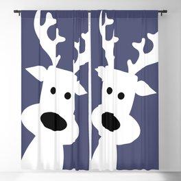 Reindeer on blue background Blackout Curtain