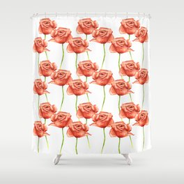 Poppy Flower Watercolor Painting Pattern Shower Curtain