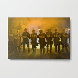 Riot Police Line - Gold  Metal Print