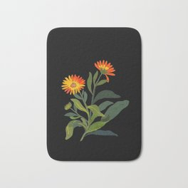 Calendula Officinalis Mary Delany Floral Paper Collage Delicate Vintage Flowers Bath Mat