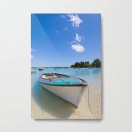 Blue Boat Metal Print
