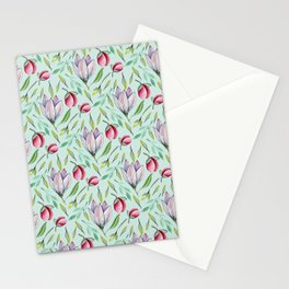 Pink green watercolor hand painted floral pattern Stationery Cards