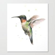 Hummingbird Watercolor Bird Animal Ruby Throated Canvas Print