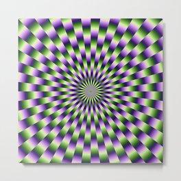 Circular Weave in Green and Purple Metal Print