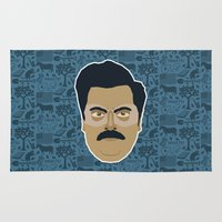 parks and recreation Area & Throw Rugs featuring Ron Swanson - Parks and recreation by Kuki