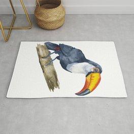 Toucan Watercolor Jungle Art Rug