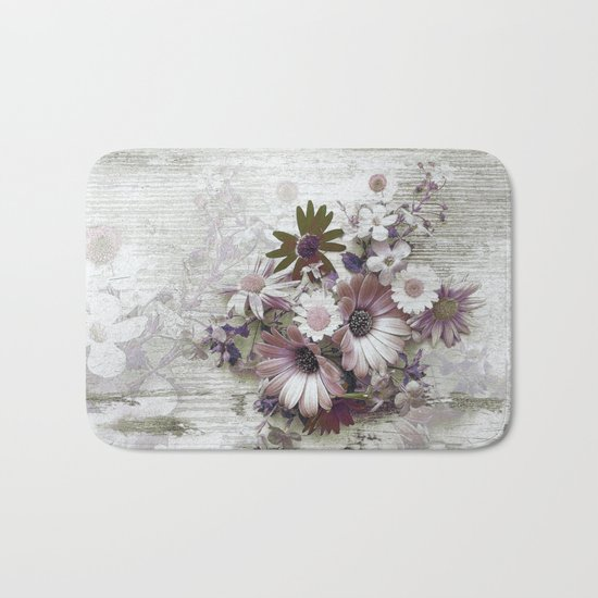Daisies on Worn Wood Bath Mat